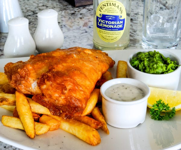 Fish and chips at Harriets Cafe Tearooms